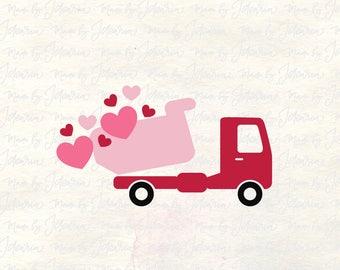 Valentine Dump Truck svg, kid valentines svg, Heart svg, valentine svg, valentines day svg, svg files valentines, cricut valentines svg