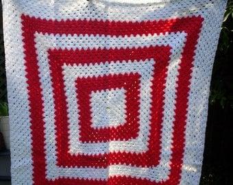 Hand Made Crochet Baby Blanket for Pram or Cot ( Red / White )