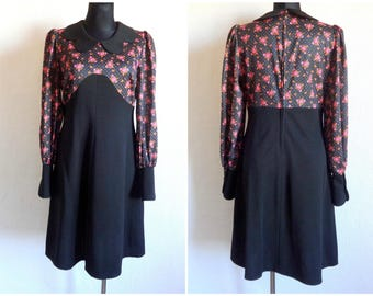 Vintage 80s Women's Polyester  Midi Dress Black & Pink Floral Dress Long Sleeve Zipper Closure Women's Formal Clothing