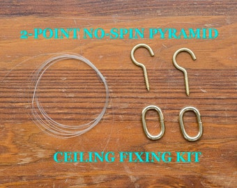2-Point No-Spin Pyramid Ceiling Fixing Kit For Hanging Up Pyramids -  For Copper Pyramids, Wooden Pyramids, Meditation, Home Decor