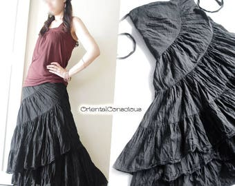 3Color】Spiral Long Wrap Skirt Cotton100% Gypsy Boho Hippie Ethnic Peasant Asian Black Green Brown