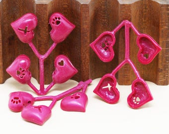 4 Puffed Heart Pendants for Investment Casting, Puffed Heart Jewelry, Casting Tool, Jewelry Making Tool, Casting Equipment, Tool for Casting