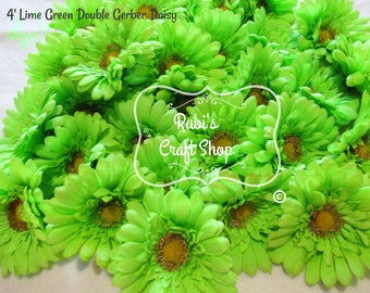 Silk gerber daisy etsy lime green double silk gerber daisy set of 3 diy silk flowers mightylinksfo