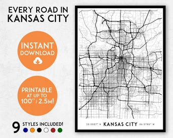 Kansas City map print, Printable Missouri map art, Kansas City print, Kansas City art, Kansas City poster, Kansas City wall art