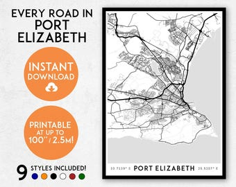Port Elizabeth map print, Printable Port Elizabeth map art, Port Elizabeth print, South Africa map, Port Elizabeth poster, Wall art print