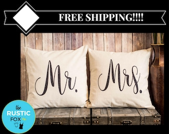 Mr and Mrs, Mr and Mrs Pillow, Bridal Gift, His and Hers, Decorative Pillows, Wedding Gift, Bridal Shower, Throw Pillows, Mr and Mrs Sign