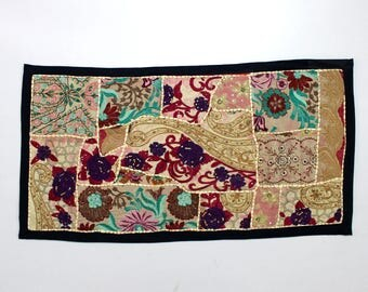 Handmade Embroidered Patchwork Antique Applique Brocade Bead Work Tent Decoration Crafted Art Sequin Work Bohemian Backdrop Table Top D929