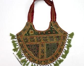 Handmade Ethnic Designer Tribal Banjara Patchwork Embroidered Hippy Fashionable Stylish Trendy Hippie Gypsy Boho Bohemian Shopper Bag F183