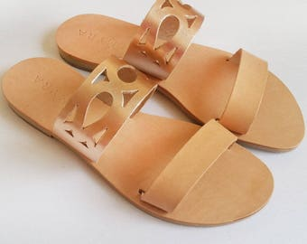 Leather greek style sandals by Almyra