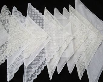 Vintage White HANKIES~Lot of 8 Lace Handkerchiefs~Floral Embroidery Tulips Assorted White Hankies~Bridesmaid Weddings Curtains Crafts