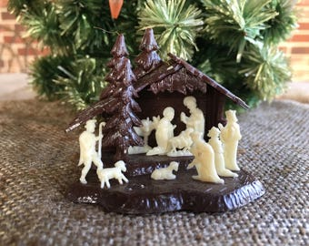 Vintage Mid Century Modern Made in Portugal Plastic Miniature Nativity Scene, Creche, Manger Decoration with White Figures