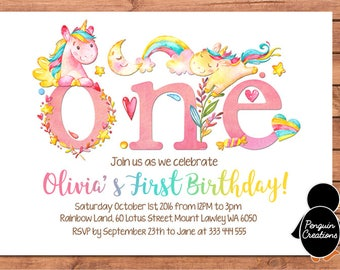 Unicorn Invitation. Unicorn First Birthday. Unicorn Party. Party Supplies. Baby Shower