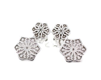 Silver Earrings SNOW with White Rhodium Plated