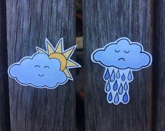 Cloud Vinyl Stickers / Sad Face Rain Cloud / Happy Face Sunshine Cloud