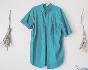 Long Turquoise Shirt Dress