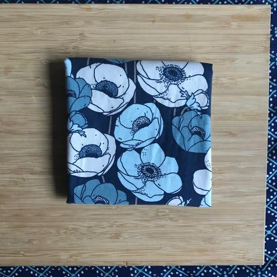 """Premium Cotton Fabric Fat Quarter - Designer Fabric - Quilting Fabric - Fat Quarters 18"""" x 21"""" Modern Blue Floral Print"""