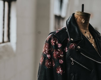 Vintage Biker Jacket with Hand-Painted Red & Pink Roses