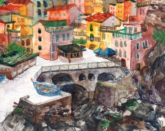 Mandala, Watercolor Art Print A4, Cinque Terre Italy, Home Decor