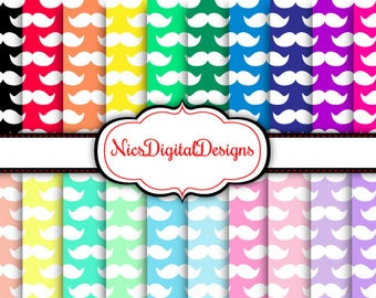 Buy 2 Get 1 Free-20 Digital Papers-Moustache's in Rainbow Colours (1B no 1) for Personal Use and Small Commercial Use Scrapbooking