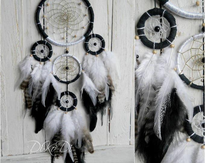 Dreamcatcher black white dream catcher bohemian home decor boho dreamcatcer wall hanging nursery decor large dream catcher