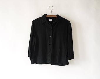 Vintage 90s Petite Boxy Black Linen Blouse Jacket