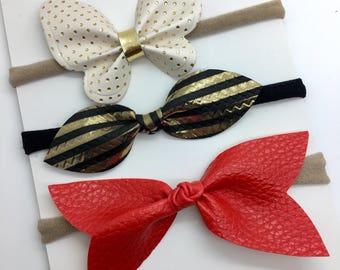 Christmas Headband Set, Baby Headband Set, Leather Butterfly Headband, Leather Bow Headband, Dainty Headband, Nylon Headband.
