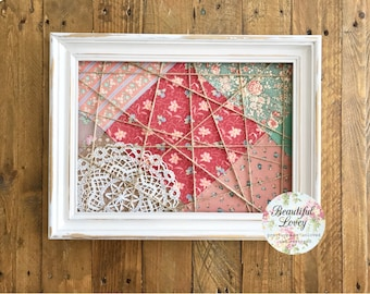 Picture or Note Display Frame | Revamped | Upcycled | Painted White | Vintage Fabric | Pegs