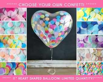"Heart Shaped Confetti Balloons! LIMITED EDITION/ 11"" Balloons/ Singles, 3 or 5 Pack/Pre-filled/Pick your Confetti/Baby Shower, Bridal, B-day"