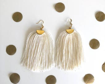 Long Tassel Earrings, Beige Tassel Earrings, Statement Earrings, Fringe Earrings.