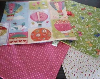 4 napkins for baby in different fabrics