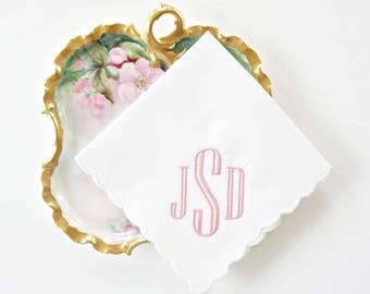 Scalloped Edge Monogrammed Handkerchief, Personalized Bridal Handkerchief, Wedding Handkerchief