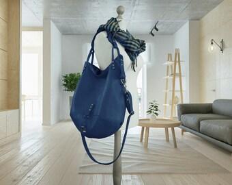 Leather bag blue Large Hobo Shoulder slouchy travel handbag everyday big sling tote purse carry oversize zippered boho simple minimalist bag