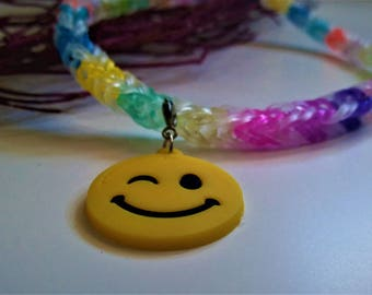Kids rainbow loom emoji necklace