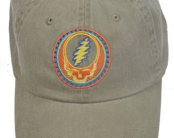 Grateful Dead Hat- Orange Sunshine Stealie Embroidered Baseball Cap / hat /Dead and Company /Steal Your Face / 13 point lightning bolt /