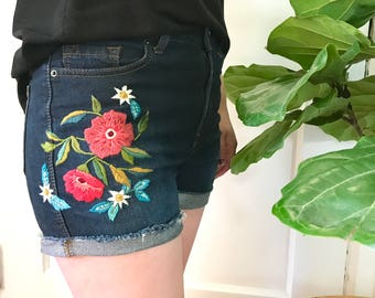 Upcycled Denim Shorts with Colorful Floral Botanical Hand Embroidery