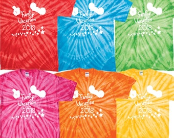 Disney World matching family vacation 2018 tie dye t shirt tee disney clothing magic kingdom disney resort fantasy land pirates main street