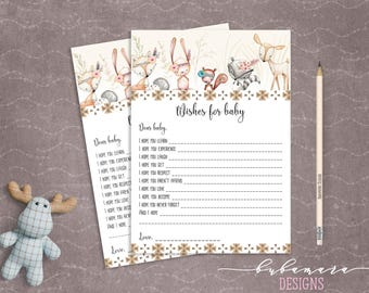 Woodland Animals Wishes for Baby Shower Game Cute Animals Fox Deer Squirrel Gender Neutral Printable Baby Wish Trivia Quiz Activity - CG007