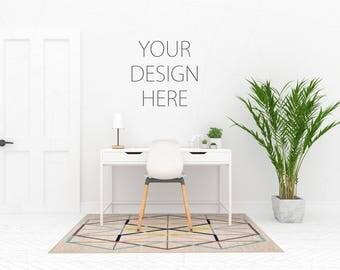 Blank Wall Mockup Black Frame Art Living Room Interior Poster Desk Artwork Canvas White