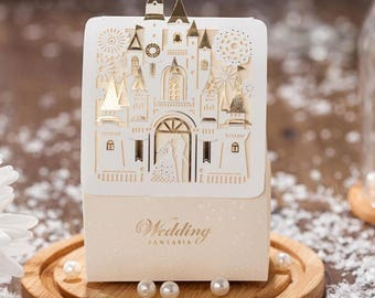 50Pcs Romantic Castle Favors Gifts Baby Shower Elegant White Luxury Decoration Laser Cut Party Wedding Candy Box For Guest