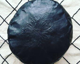 Moroccan pouf, oriental pouf, leather pouf BLACKSTONE pouf