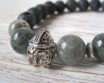 Men's Diffuser Bracelet, Men's Jewelry, Bloodstone Bracelet, Aromatherapy Bracelet, Viking Helm Jewelry, Essential Oil Bracelet