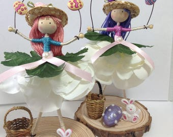 Easter bendy dolls with eggs, basket, bonnett