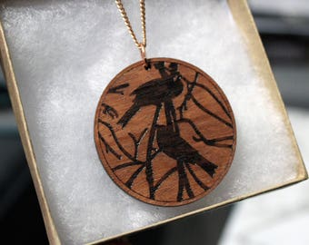Rose Gold Bird Necklace Laser Cut Wood, Rose Gold Bird Pendant, Etched Bluegum Pendant in Gift Box, Wearable Art, Bird Necklace