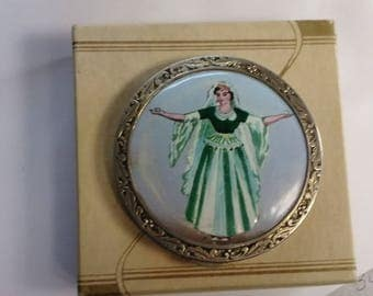Vintage sterling silver compact lady with veil porcelain applied
