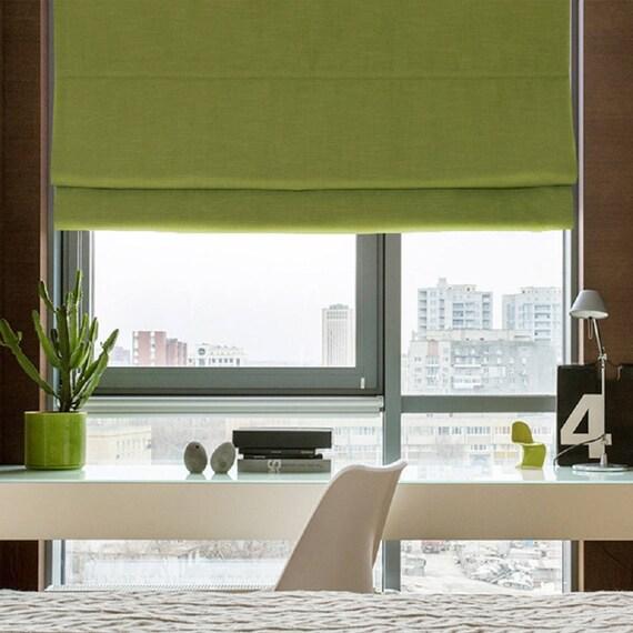 Green Roman Shade Blackout Shade Linen Window Blinds Cotton
