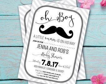 Little Man Baby Shower Invitation - Mustache Baby Shower Invitation - Bowtie Invitation - Boy Baby Shower - Bow Tie Invitation - Printable