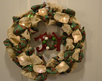 White and Green Lighted Holiday Wreath 14""