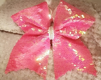 Iridescent pink and matte pink reversible sequin cheer bow!