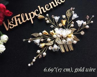 Gold Bridal Hair Comb, Crystal Hair Comb, Wedding Hair Accessories, Bridal Hair Pin, Bridal Hair Accessories