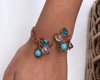 Beaded Bracelet /Copper Bracelet/Blue Beaded  Bracelet/Crystal Bead Bracelet/Adjustable Bracelet